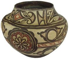 Native American Historic Zuni Poly chrome Pottery Olla #288. Priced at $10,800, from https://culturalpatina.com/collections/american-southwest-pottery/products/zuni-pottery-fantastic-old-polychrome-zuni-pottery-olla-288