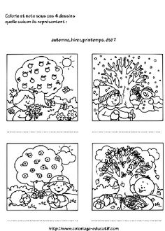 4 saisons coloriage enfants pinterest search and - Dessin 4 saisons ...