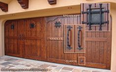 "Spanish Architectural Garage Door DesignDecorative Iron features that make a true Spanish statement on this Spanish Style Garage Door Design include Decorative Rustic Iron 1/2"" Clavos, Forged Iron Handles and Rustic Speakeasy Windows with an Iron Grill and Antiqued Seeded Glass pane. Handcrafted out of Solid Select Tight Knot Cedar and finished in a vibrant stain beautifully highlight the natural grain of the wood.  								Tags:"