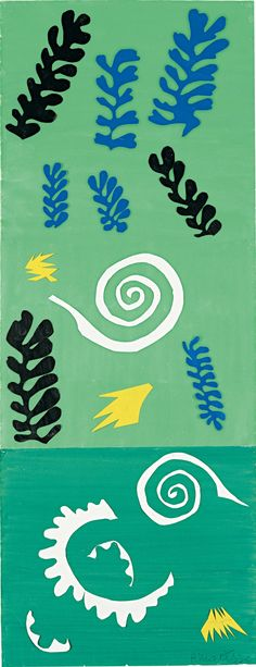 Henri Matisse, Composition Green Background (Composition fond vert), 1947 Gouache, cut papers, and pencil on paper Henri Matisse, Matisse Kunst, Matisse Art, Pablo Picasso, Matisse Cutouts, Picasso Paintings, Art Paintings, Thinking Day, Museum Of Modern Art
