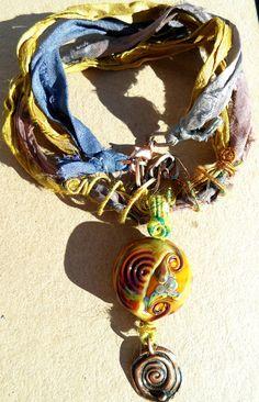 Midnight Moon and Setting Sun handmade lampwork bead by GeneaCK
