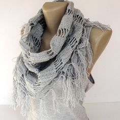 gray scarves  crocheted scarf shawl  cowl by senoAccessory on Etsy, $25.00