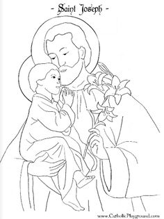 saint joseph coloring page  chek month for sheet and reipe