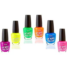 UV Glow Blacklight Nail Polish - 6 Color Variety Pack, 13ml – Day or Night Stage, Clubbing or Costume Makeup by Splashes