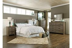 """The Zelen Five Drawer Chest from Ashley Furniture HomeStore (AFHS.com). The true rustic beauty of Vintage Casual style has never been brought to life more than with the warm relaxing design of the """"Zelen"""" bedroom collection."""