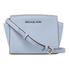 MICHAEL Michael Kors 'Selma' Mini Powder Blue Saffiano Leather Crossbody Bag - Overstock™ Shopping - Big Discounts on MICHAEL Michael Kors Designer Handbags