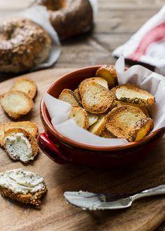 Garlic Parmesan Bagel Chips | www.kitchenconfidante.com | Transform bagels into your favorite crunchy snack!
