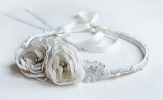 custom headpiece for Kirstin  hand beaded lace, chiffon roses with fresh water pearl and crystal