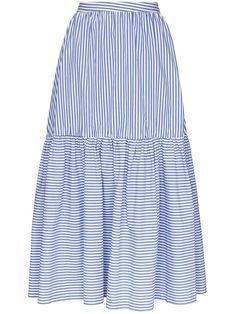 Shop online blue Staud Orchid striped maxi skirt as well as new season, new arrivals daily. Striped Maxi Skirts, Stripe Skirt, Full Skirts, Short Skirts, Sage Green Maxi Dress, Mori Girl Fashion, Beachwear Fashion, Jacket Dress, Midi Skirt