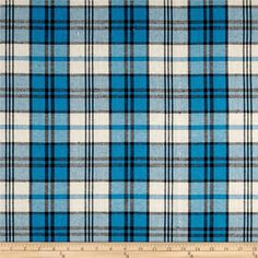 Yarn Dyed Plaid Flannel Blue/Black/Cream from @fabricdotcom  This lightweight single napped plaid flannel fabric is smooth on one side and brushed on the other. Perfect for cooler weather items like dresses, skirts, button-down shirts, scarves, and more. Colors include blue, black, and cream.