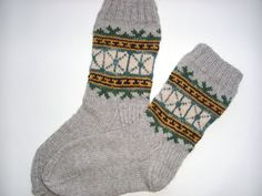 Hand Knitted Wool Socks  Colorful Wool Socks for Men by Billeshop, $34.00