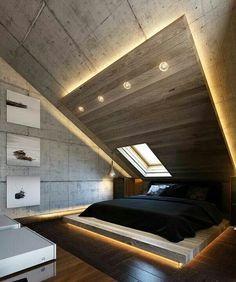moderne schlafzimmer einrichtung und lichtgestaltung mit indirekter boden - und deckenbeleuchtung