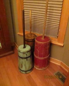 Old butter churns! Decor, Wood, Interior, Molding, Cedar Chest, Amish Furniture, Pottery, Wood Carving, Primitive