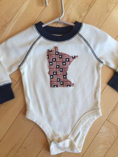 Minnesota Patriotic Baby Onesie ~ Size 6-12 Months ~ UPcycled ~ One-of-a-Kind ~ MN Stars & Stripes Appliqué ~ Great Gift during Election ~ by ArtThatCooks on Etsy