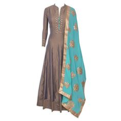 Enchanting mouse brown stitched frock suit featuring in gota work-Mohan's the chic window Indian Gowns, Indian Attire, Pakistani Dresses, Indian Wear, Indian Outfits, Indian Sarees, Salwar Designs, Blouse Designs, Dress Designs