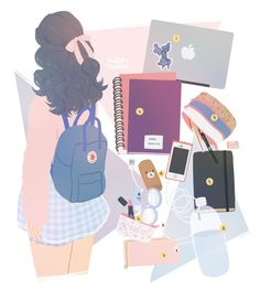 """mintgal: """" what's in my bag: kanken classic !! (1. laptop) (2. textbook & notebook) (3. pencil case) (4. portable charger & phone) (5. sketchbook) (6. makeup pouch) (7. wallet) (8. water bottle) """" i LOVe this i wish i could draw like this"""