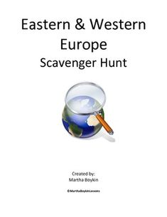Eastern & Western Europe Scavenger Hunt Geography Lesson Students will find this activity fun and motivating, and it will encourage students to examine physical, political, economic and cultural characteristics of Eastern & Western Europe, along with the geographical themes. This is the perfect activity to introduce and begin your European unit.