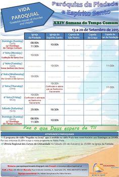 PARÓQUIAS DO PORTO SANTO: Horário das Paróquias de 13 a 20 de Setembro de 20...