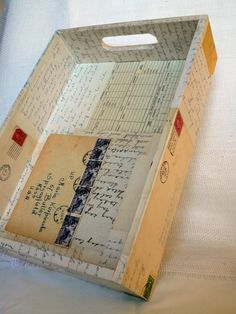 Tray Wood Correspondence Postage Letters Ephemera Storage Display. $42.00, via Etsy.