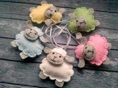 Felt Sheep ornament, Wool felt Easter Lamb ornament, pastel Easter decor, blue pink sheep, pastel decoration / READY TO SHIP Felt Diy, Felt Crafts, Easter Crafts, Fabric Crafts, Sheep Crafts, Handmade Ornaments, Felt Ornaments, Oster Dekor, Pink Sheep