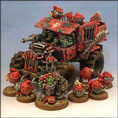 Squigg Mob - truck and trouble from Irondog Studios Warhammer Figures, Warhammer Paint, Warhammer Aos, Warhammer Models, Warhammer 40k Miniatures, Warhammer Fantasy, Warhammer 40000, Optimus Prime Toy, Minis