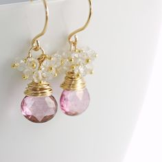 Pink Quartz Earrings 14k Gold Fill with Topaz Clusters, Bridal Jewelry, dangle. $47.50, via Etsy.