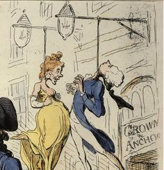 """Detail from """"The Hopes of the Party, prior to July 14th - 'From such wicked Crown & Anchor-Dreams, good Lord, deliver us'"""" by James Gillray, 1791. Pitt and the Queen are shown swinging by the neck outside the Crown & Anchor tavern, where a few days previously a group of pro-French Revolution radicals had held a celebratory July 14th dinner."""