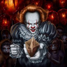 Pennywise, the killer paper boat maker! Clown Horror, Arte Horror, Horror Art, Le Clown, Creepy Clown, Scary Halloween, Clown Pennywise, Pennywise The Dancing Clown, Scary Movies