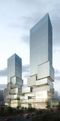 "Block E-15, twin ""dissolving towers"" Chongqing Financial Street project, Aedas Architects"