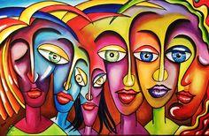 Urban 115 x 70 Acryl op doek 150 € Art Painting Images, Modern Drawing, Abstract Face Art, Cubism Art, Africa Art, Buddha Art, Learn Art, Arte Pop, People Art