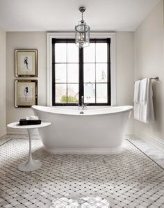 Dear Santa, I want this home for Christmas Paint color is Benjamin Moore Edgecomb gray Bad Inspiration, Bathroom Inspiration, Luxury Interior Design, Home Interior, Monochrome Interior, Farmhouse Interior, Benjamin Moore Edgecomb Gray, Black Windows, Double Casement Windows
