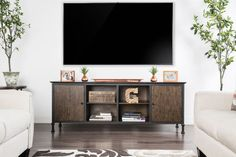 Furniture of america Broadland industrial style medium weathered oak finish wood tv console Industrial Tv Stand, Industrial Style, Wood Corner Tv Stand, Tv Stand With Storage, Framed Tv, Weathered Oak, Open Shelving, Wood And Metal, Living Spaces