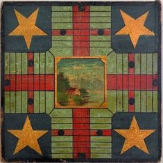 Antique Parcheesi Game Boards - The Vintage Village - Perfect to hang on a wall. Even better in a grouping. Antique Paint, Antique Toys, Vintage Toys, Vintage Antiques, Vintage Board Games, Old Games, Barn Quilts, Illustrations, Old Toys