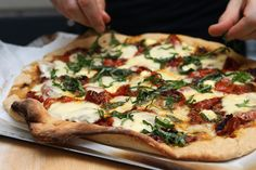 Tomato Basil Pizza :: oh, this was delectably, cheesy.  Do add more toppings than what may appear adequate - it all shrinks down in the oven-baking process.