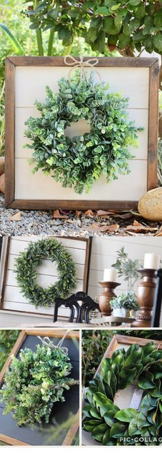 Shiplap Art & Mini Eucalyptus OR Magnolia Wreath - Small 15x15 - Reclaimed Wood - Handmade - Farmhouse - Home Decor - Custom Pieces - Spring - Fixer Upper Style - Rustic Rustic Home Decor Cheap, Rustic Decor, Rustic Country Homes, Ladder Decor, Rustic Homes