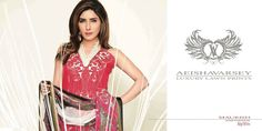 Womens Fashion Pakistani Designer Suits Haute Couture for work / Party and Casual wear- Aeisha Varsey collection. In Rich Hot  Fiery Red Latest Summer Pakistani Luxury Lawn Collection. Embroidered Lawn Shirt with Pure Chiffon Dupatta and Lawn Trouser.