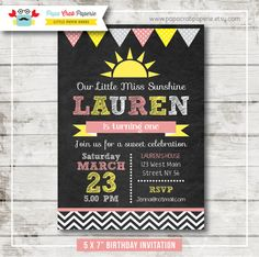 Little Sunshine Chalkboard Birthday Party by PapaCrabPaperie