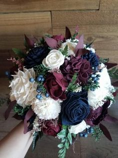 Burgundy Wine Navy Sola Wood Flower Bouquet and preserved fillers Stella Designs Style 431 Navy Wedding Flowers, Prom Flowers, Burgundy Wedding, Fall Wedding, Wedding Colors, Burgundy Wine, Wedding Ideas, Wood Flower Bouquet, Sola Wood Flowers
