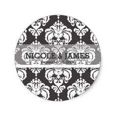 Grey & White Damask Vintage Wedding Event Favor Classic Round Sticker - girly gift gifts ideas cyo diy special unique