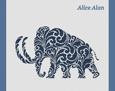 Cross Stitch Pattern Silhouette Mammoth Vintage Ornamental monochrome Counted Cross Stitch Pattern/Instant Download Epattern PDF File