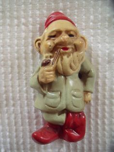 Vintage Elf Pixie Gnome Dwarf Paper Mache Composition Doll Statue Smoking A Pipe | eBay