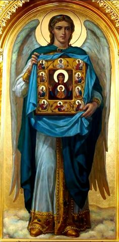 Archangel Gabriel holding the icon of the Theotokos.