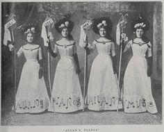 These women, who are advertising Allan & Co's Music Warehouse won the prize design at the Great Poster ball held in Melbourne in September 1900. The novel nature of the fund-raising ball was reported throughout New Zealand, and by 1901 Poster Balls were being held throughout the country. Dresses Australia, New Zealand, Fashion Brands, Strapless Dress, Costumes, Couples, Raising, Warehouse, Womens Fashion