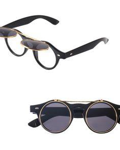 Flip Up Sunglasses Round Flip Up Sunglasses, Round Sunglasses, Victorian Era, Flipping, Matte Black, Vintage Inspired, Retro Vintage, Lens, Pairs