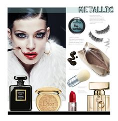 """""""Metallic"""" by hellodollface ❤ liked on Polyvore featuring beauty, Battington, Anya Hindmarch, NYX, Morgan Lane, Christian Dior, Gucci, Urban Decay, Chanel and metallicmakeup"""