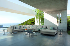 Manutti // Experience pure delight with this outdoor sofa as you catch up with friends and loved ones. The choice of materials allows for durable, weatherproof pieces that still feature luxurious appeal - Zendo Collection - Mood Collection Outdoor Sofa Sets, Outdoor Furniture Sets, Outdoor Decor, Modular Sofa, Sofa Design, Lava, Lounge, Concept, Pure Products