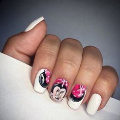 Beautiful kid nails, Cheerful nails, Children nails ideas, Fun summer nails, Kid nails with pattern, Mickey mouse nails, Short nails for kids, Short white nails