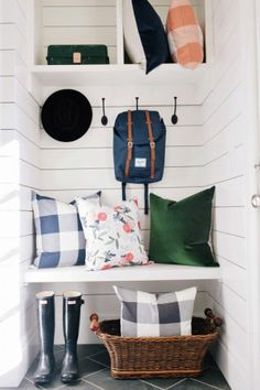 Watercolor Floral and plaid Pillows for guestroom