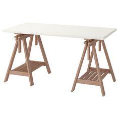 שולחן LINNMON/FINNVARD Ikea Table, Ikea Desk, Table Desk, Ikea Linnmon Desk, Industrial Drafting Tables, Drafting Desk, Hack Ikea, Trestle Desk, Desk Hacks