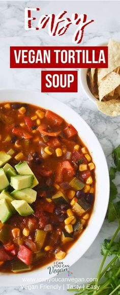 This hearty and delicious vegan and vegetarian tortilla soup recipe is THE BEST! It's made in just one pot and makes for easy lunch and dinner options throughout the week so it's perfect for weekly meal prep. This vegan tortilla soup recipe is packed with fresh vegetables and pantry staples you probably already have. Check out this vegan tortilla recipe NOW so you can make it for dinner TONIGHT! #VeganSoup #VeganTortillaSoup #Vegetarian #SoupRecipe #TortillaSoup #Mexican #MexicanSoup